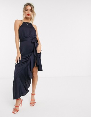 Style Cheat high neck frill hem midaxi dress in navy