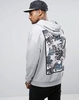 Asos Hoodie In Grey With Floral Back Print