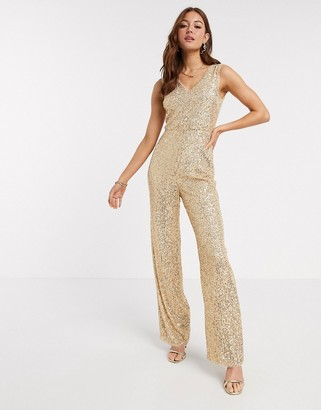 TFNC sequin jumpsuit in gold