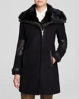 Andrew Marc Mara Fur Trim Mixed Media Coat