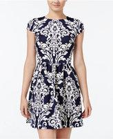B. Darlin Juniors' Printed Scuba Fit & Flare Dress