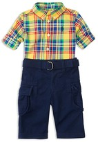 Ralph Lauren Infant Boys' Plaid Shirt, Cargo Pants & Belt Set - Sizes 3-24 Months