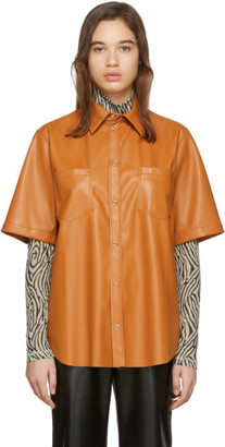 Nanushka Orange Vegan Leather Lano Shirt