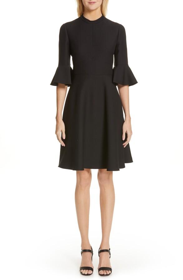 Valentino Ruffle Sleeve Crepe Dress