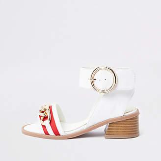 River Island Girls White chain flared heel sandals