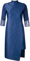 Taro Horiuchi mandarin neck asymmetric dress - women - Polyester/Cotton - 1