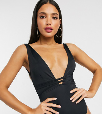 Asos Tall ASOS DESIGN recycled tall glam belted swimsuit in black