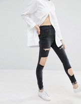 WÅVEN High Rise Skinny Jeans With Patches And Rips