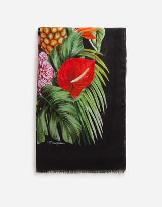 Dolce & Gabbana SCARF IN MODAL AND CASHMERE WITH POLKA-DOT AND FRIT PRINT: 135 X 200CM- 53 x 78 INCHES