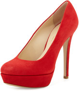 Charles David Lilli Suede Platform Pump, Red