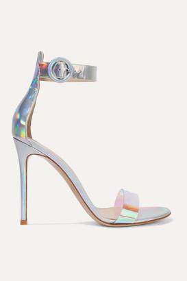 Gianvito Rossi Portofino 105 Iridecent Leather And Pvc Sandals - Silver