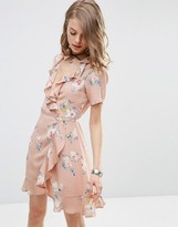 Asos Wrap Front Tea Dress with Frill in Pretty Floral Print