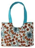 Handcrafted Turquoise Trim Cotton Tote Handbag from India, 'Foliage and Stars'