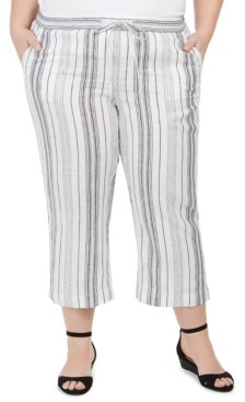 Charter Club Plus Size Striped Linen Pants, Created for Macy's