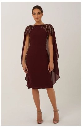 Raishma Burgundy Cape with Embellishment Midi Dress