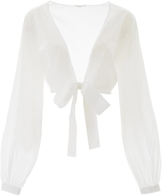 Oseree Billow Sleeves Wrap Blouse
