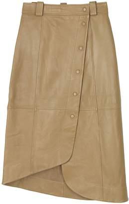 Ganni Lamb Leather Skirt in Tigers Eye