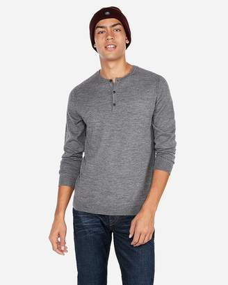 Express Merino Wool-Blend Thermal-Regulating Solid Henley Sweater