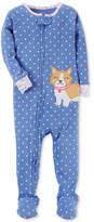 Carter's 1-Pc. Dog-Print Dog Footed Cotton Pajamas, Baby Girls
