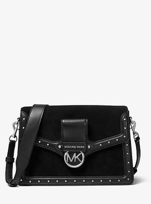 MICHAEL Michael Kors Jessie Large Suede And Leather Shoulder Bag