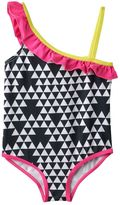 Pink Platinum Toddler Girl Triangle Print Asymmetrical One-Piece Swimsuit