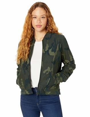 Majestic Filatures Women's Viscose Camo Quilted Long Sleeves Zip Bomber Jacket