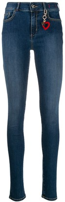 Twin-Set heart keyring detail skinny jeans
