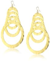 18k Gold Dipped Hammered Multi-Circle Earrings