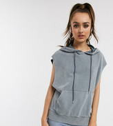 Asos DESIGN Petite sleeveless hoodie in washed charcoal