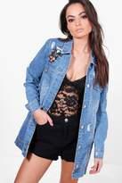boohoo Mya Longline Studded Embroidered Denim Jacket mid blue