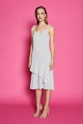 Coast Shoulder Tie Spot Midi Dress