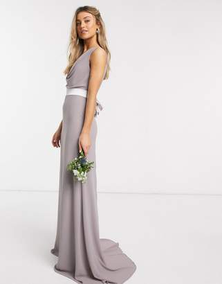 TFNC Bridesmaids cowl neck bow back maxi dress in grey