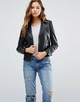 MANGO Black Real Leather Biker Jacket