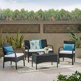 Christopher Knight Home Cordoba 4pc Wicker Patio Chat Set with Cushions