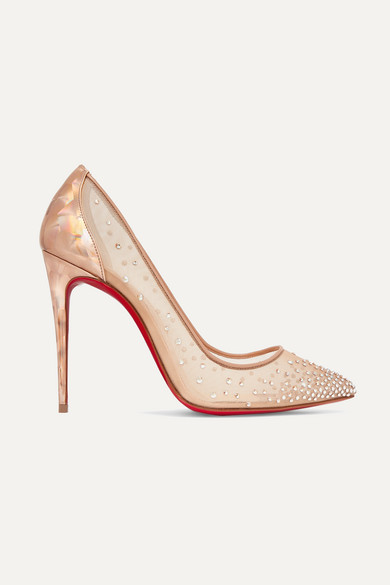 half off b9b27 3a275 Follies 100 Crystal-embellished Mesh And Metallic Leather Pumps