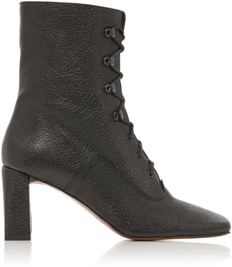 BY FAR Claude Textured-Leather Ankle Boots
