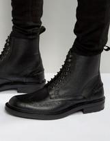 Dead Vintage Brogue Boots Black Leather