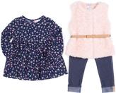 Little Lass Pink & Navy Faux Fur Vest Set - Infant & Toddler