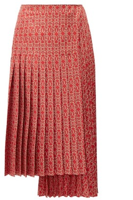 Fendi Pleated Gate-print Silk-twill Skirt - Womens - Red Multi
