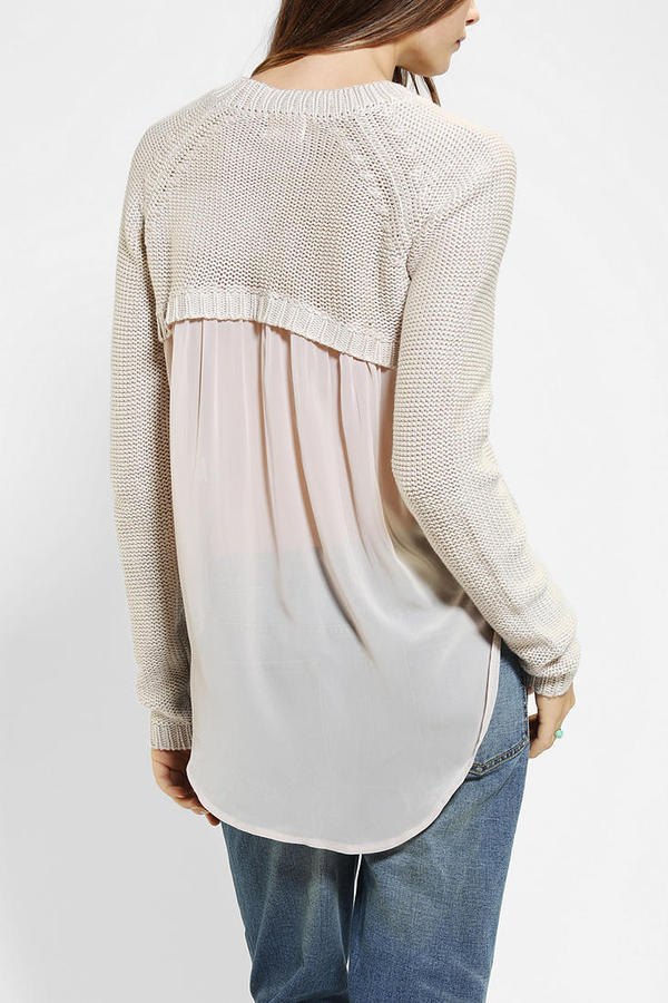 Urban Outfitters Pins And Needles Chiffon-Back Sweater