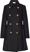 RED Valentino Scalloped Double-breasted Wool-blend Coat - Midnight blue