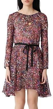 Maje Relana Silk Floral Print Mini Dress