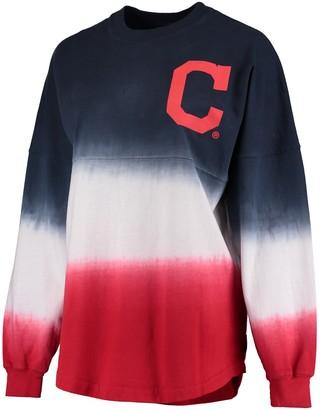 Fanatics Women's Navy Cleveland Indians Oversized Long Sleeve Ombre Spirit Jersey T-Shirt
