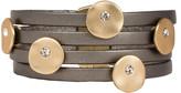 Saachi Style Style Women's Bracelets Dark - Gray Crystal & Goldtone Mars Layered Leather Bracelet
