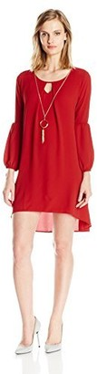 NY Collection Women's Petite Size Solid Long Sleeve Key Hole Hi Low Hem Dress with Necklace