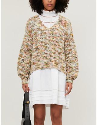 Free People Highland V-neck stretch-knit jumper