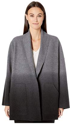 Eileen Fisher Ombre Boiled Wool Shawl Collar Kimono Jacket (Ash/Black) Women's Clothing