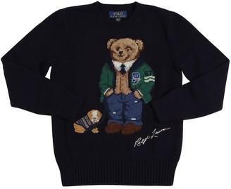 Ralph Lauren Bear Intarsia Cotton & Wool Knit Sweater