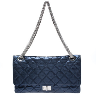 Chanel Metallic Blue Quilted Leather Reissue 2.55 Classic 228 Flap Bag