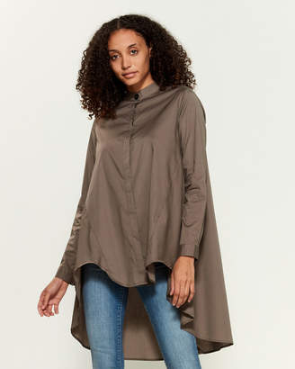 Numero 00 Brown Long Sleeve Hi-Low Draped Shirt